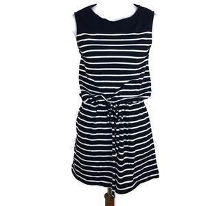 J. Crew Navy Blue White Striped Nautical Dress